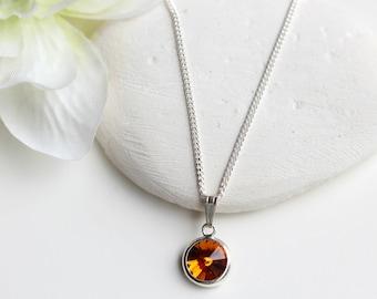 Topaz Necklace Sterling Silver - Topaz  November Birthstone Necklace -  Swarovski Topaz Necklace  - Swarovski Topaz Jewelry Jewellery - B70
