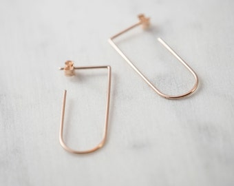 Hug hoops minimalist earrings. Open Hoops in silver or rose gold filled.