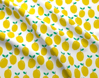 Food Fabric - Lemon - Yellow Fruit Summer Scandi Minimal Design Fabric By Charlotte Winter - Food Cotton Fabric By The Yard with Spoonflower