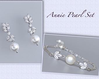 Bridal Jewelry Set, Bracelet & Earrings SET, Pearl Earrings and Bracelet Set,  Bridesmaid Jewelry Set, ANNIE PEARL Set