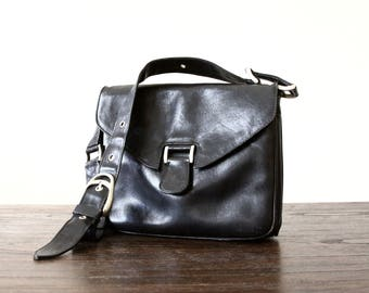 black leather purse - rock n roll metal link shoulder bag - hip bag - handbag