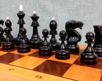 Soviet vintage wooden chess, tournament, weighted.