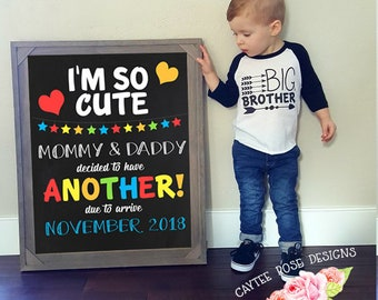 I'm So Cute Pregnancy Announcement - Sibling Announcement - Big Brother - Big Sister - Printable or Photoshop into Frame - 16x20