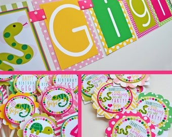 Reptile Birthday Party Decorations Package Fully Assembled | Girly Reptile Party | Girl Turtle Party | Girl Lizard Party | Girl Snake Party