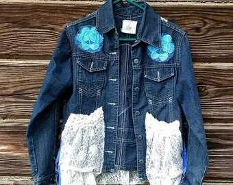Embellished OOAK Denim Jean Jacket w/ Mermaid, Vintage Lace Pockets, Hand-Dyed Crocheted Flowers