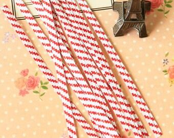 Red Stripe Twist Ties wired baker bag ties
