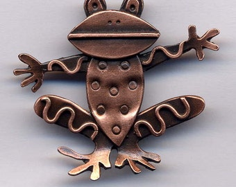 SALE****Frog Brooch in Copper Finish****HALF PRICE