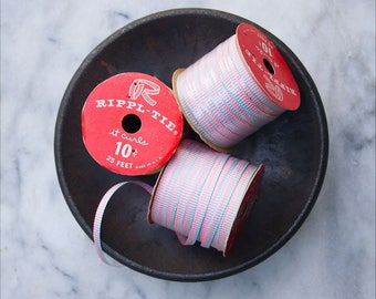 Vintage Paper Curling Ribbon / 3 Rolls Two Tone Faded Pink and Blue / Rippl Tie Ribbon Spool / NOS