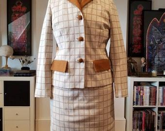 Vintage Crimplene 1960s Skirt Jacket Suit Check 8