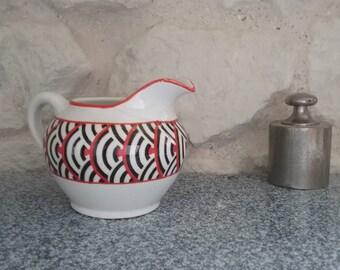 Creamer or milk PICADOR Digoin Sarreguemines dishes vintage, Art deco made in France - 30's