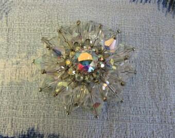Vintage pavé crystal glass flower brooch