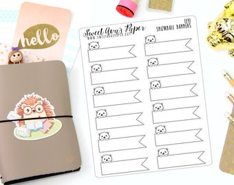 Banner Planner Stickers - Functional Planner Stickers - Page Flag Planner Stickers - Planner Stickers - Cat Planner Stickers - 1341