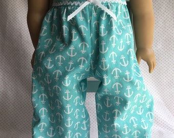 AQUA ANCHOR JUMPSUIT Fits American Girl and Other 18 Inch Dolls