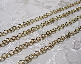 Light Gold Plated Cross Cable Chain 4mm x 3mm Nickel Free 359