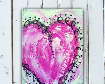 Pink abstract heart, original pink heart painting,FREE SHIP whimsical heart, pink black, girly wall art,