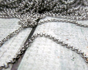 2mm Rolo Chain - Stainless Steel Necklace Chain by the foot - 2mm chain - Stainless Steel Rolo Chain 2mm - Stainless Steel Bulk Chain (111)