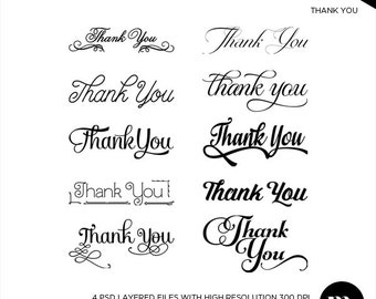 Thank You Overlay Png + Psd Files - INSTANT DOWNLOAD - TY002