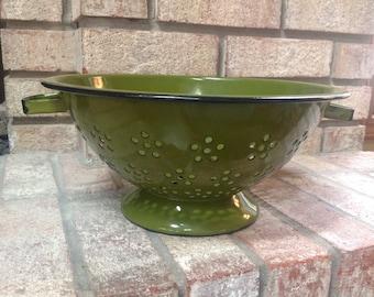Vintage Green Enamel Colander or Strainer