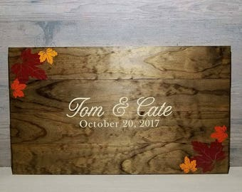 Fall Wedding Guest Book - Rustic GuestBook - Wedding Guest Book - Wooden Guest Book - Custom Guest Book - Fall Leaf Guest Book - Fall Leaves