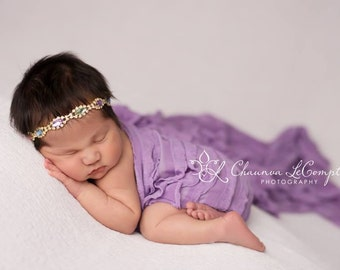 Ruffle Stretch Fabric Wrap Lavender Newborn Photography Prop Posing Swaddle