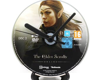 The Elder Scrolls Online PC Upcycled CD Clock Video Game Collectable Gift Idea Choice of Disc