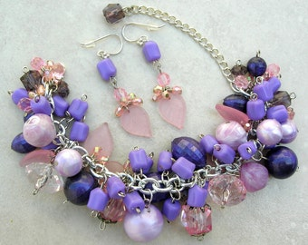 Purple & Pink Passion, Faux Pearls/Crystal/Lucite Beads, Bracelet Can Also Be a Necklace, Charm Bracelet and Earrings Set by SandraDesigns