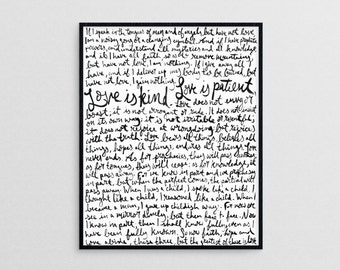 Love is Patient, Love is Kind  |  1 Corinthians 13 hand-lettered Christian art