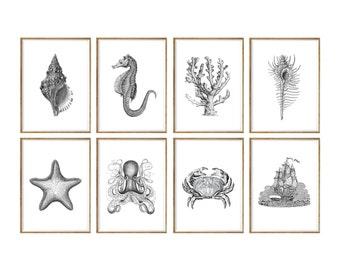 Nautical Art Print SET of 8, nautical wall decor, nautical art print, beach house decor, beach house prints, coastal art prints, black white