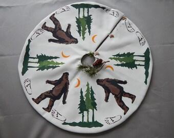 "SASQUATCH BIG FOOT Christmas tree skirt tabletop 28"" diameter yeti squatch Bigfoot hand painted legend cryptozoology Crabby Chris™ Original"