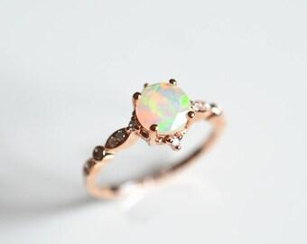 Opal Wedding Ring Rose Gold Opal Engagement Ring Ethiopian Opal Enagement Ring Vintage Antique Opal Engagement Ring 14k 18k Gold Opal Ring