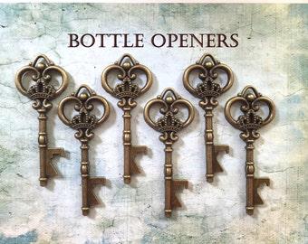 "Wedding Favors - Skeleton Key BOTTLE OPENERS – Set of 50 – Antique Bronze – 3.25"" Long (80mm) –Vintage Style - Ships from USA."