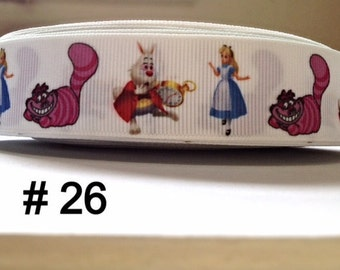 """3 or 5 yard - 1"""" Alice In Wonderland and Friends White Grosgrain Ribbon Hair bow Craft Supply"""