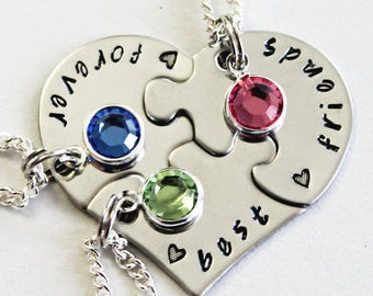BEST FRIENDS FOREVER. With Birthstones. Graduation.  Best Friend Necklaces. bff. Graduation Gift. Best Friend Gift. Birthstones.