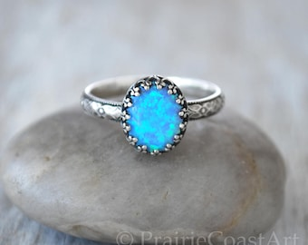 Oval Blue Opal Ring Sterling Silver - Handcrafted Artisan Silver Ring  - Sterling Silver Opal Ring - Blue Solitaire Opal