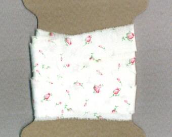 4 yards ribbon hand torn vintage white fabric pink rose buds shabby trim chic seam binding Muslin 1276-44 . ....oohlala