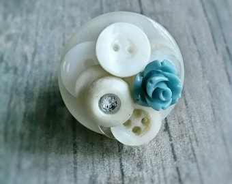 Vintage layered Button Adjustable Ring with Blue Rose