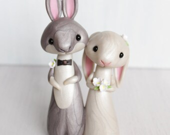 Rabbit Wedding Cake Topper - personalized animal clay cake topper and keepsake - bunny figurine by Heartmade Cottage