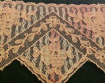 """Antique  Vintage Lace, French, all cotton.  It is embroidered thread on net, 1920's. 27"""""""