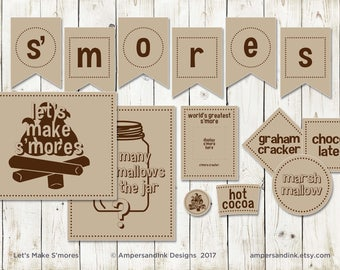 Campfire S'mores Party Kit, Dessert Station - Signage, Banner, Tags, Labels, Party Favors, Game