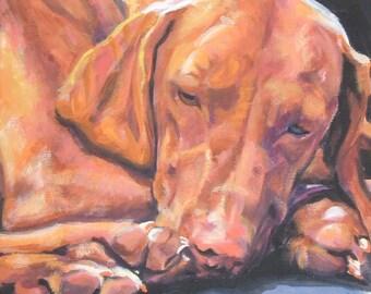 "VIZSLA dog portrait art canvas PRINT of LAShepard painting 8x8"" dog art"
