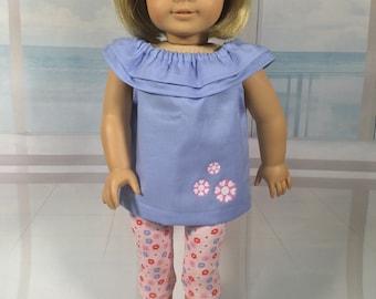 Americana Girl doll top, Tunic, Capris/Leggings, Shoulder ruffle peasant, Shirt, Designer outfit, Pants & top, American.Girl doll clothes
