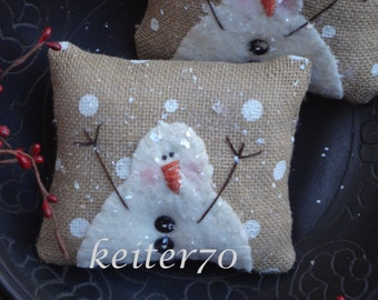 Two Primitive Christmas Holiday Burlap Snowman Pillow Ornies Bowl Fillers