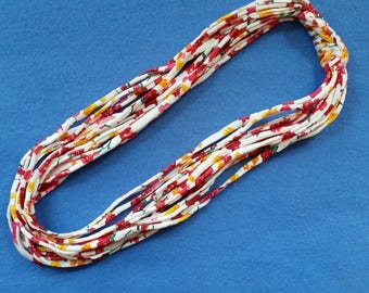 Floral Print Recycled T-shirt Fabric Necklace - red, pink, and yellow flowers upcycled tshirt necklace tarn tshirt yarn