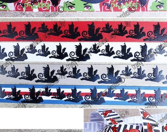 Wicked Witch - Wizard of Oz Inspired   - US Designer Printed Ribbon - 1yd, 3yd or 5 yd - Flying Monkey, Green Witch, Ruby Slippers