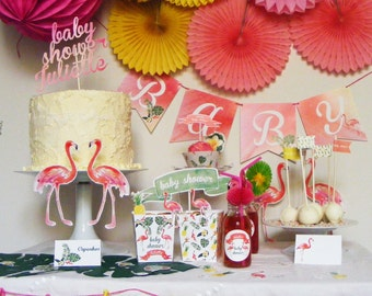 FLAMINGO PARTY. Baby Shower Flamingo. Birthday flamingo. Tropical Party. Party Decorations Package, just ready to use.