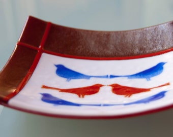 Red and Blue Bird Plate