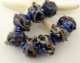 SRA Lampwork Hollow Glass Beads, Organic Set, Cobalt Blue, Hollow Beads with Iridescent Dots