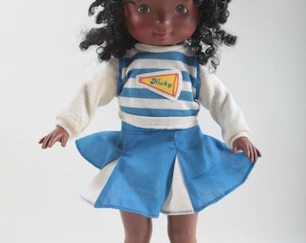 My Friend Nicky, Fisher Price, Cheerleader, Vintage, Doll, African American, Black Curly Hair, Blue, White, Dressed ~ The Pink Room ~ 161023
