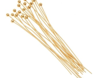 Gold wire pin etsy 50100pcs gold ball pins 50 mm 24 gauge wire 2 gold plated ball head pins headpin balls necklace bracelet earring findings components greentooth Gallery