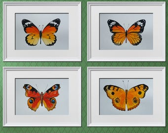 Butterflies Watercolor Painting, Set of 4 Butterflies, Abstract Watercolor Art Print, Butterflies Nursery Room Decor